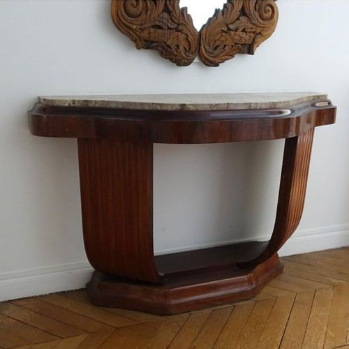 TRAVAIL FRANÇAIS 1925 Half moon console made of walnut veneer and burr walnut, c…