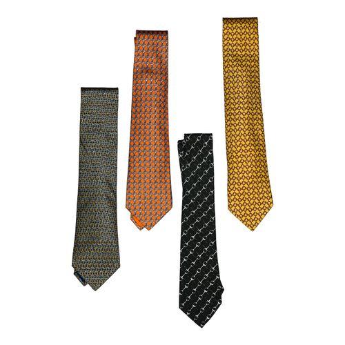 """Hermès Lot de 4 cravates twill    A dessins géométriques. 1 Fond jaune, """"mors"""" m…"""