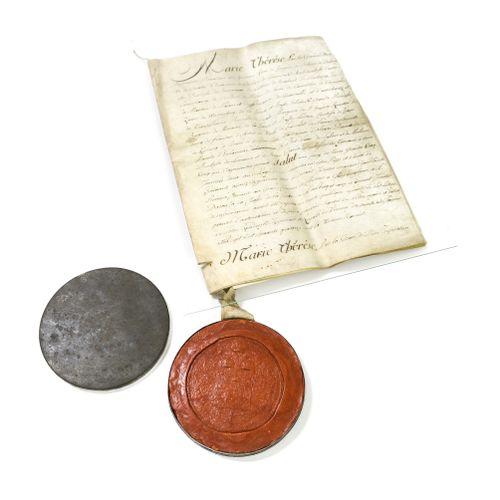 Lettres patentes de l'impératrice Marie Thérèse d'Autriche de vente publique des…