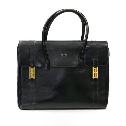 """Hermès Sac à main """"Drag"""" 29 cm    En box noir chiffré """" KD """", fermoirs """" H """" pla…"""