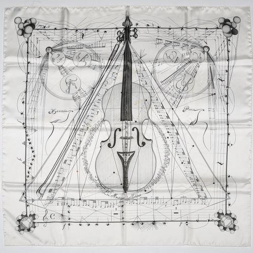 """Hermès Carré twill """"Musique des Sphères (la)""""    Carré 90 cm en soie twill sur f…"""