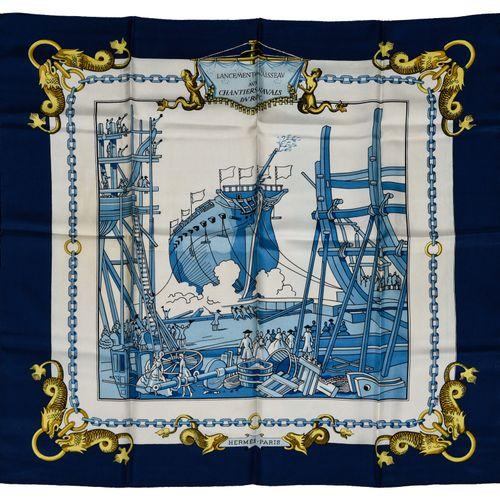 """Hermès Carré Twill """"Lancement d'un Vaisseau aux Chantiers Navals du Roy""""    Carr…"""