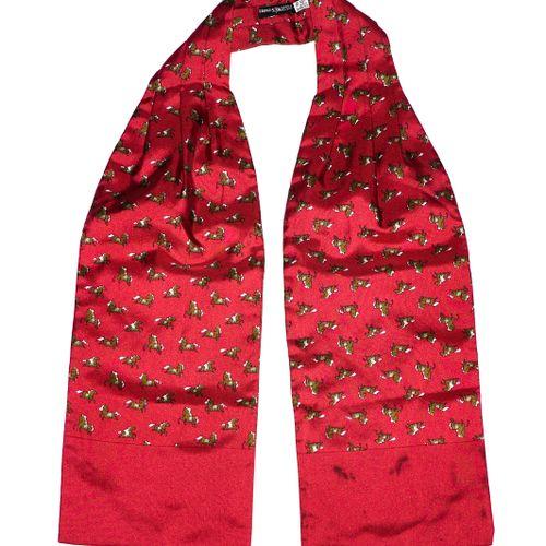 Hermès Cravate jabot    De ton rouge fonce. Motif de chevaux au galop.  Taches s…