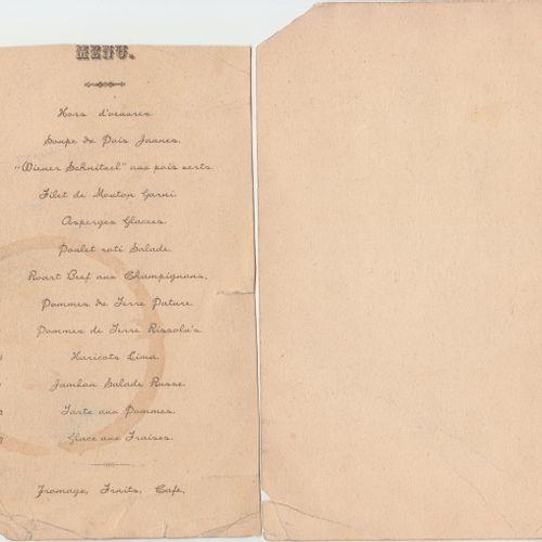 Deux menus de la colonie belge à Hankow CHINE, 1905 1907  Deux menus de la colon…