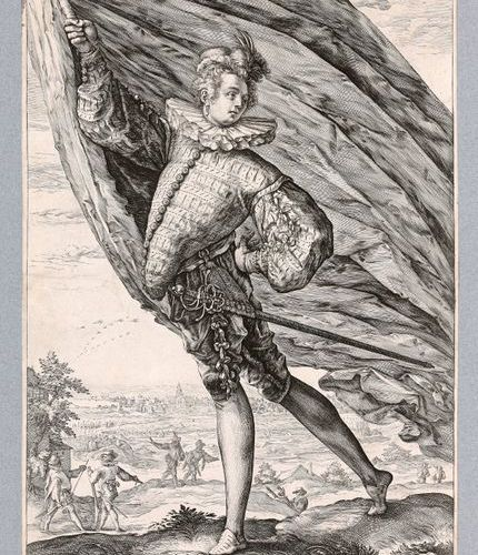 Hendrik GOLTZIUS (1558 1616)  A sign holder holding a flag  Chisel.  Height 272 …