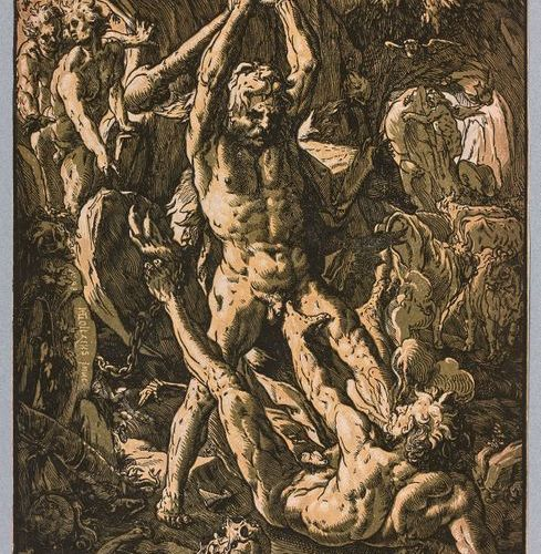 Hendrik GOLTZIUS (1558 1616)  Hercules killing Cacus  Wood in chiaroscuro. Barts…