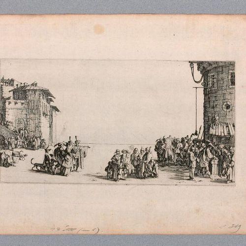 Jacques CALLOT (Nancy 1592 1635)  The Slave Market or the Petite Vue de Paris, c…