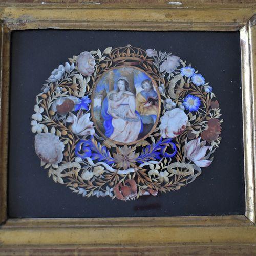 CANIVET encadré Vierge à l'Enfant avec Saint Jean Baptiste (Haut. 11 Larg. 13 cm…