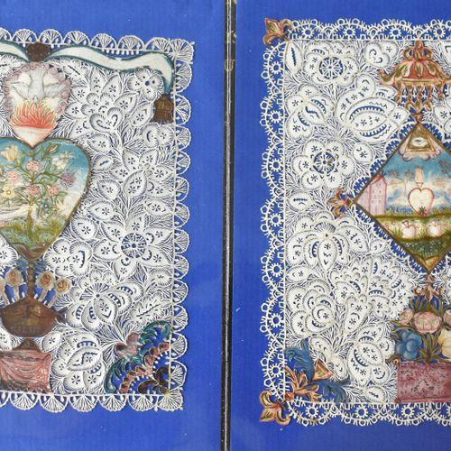 DEUX CANIVETS au Sacré Coeur (Haut. 14 Larg. 11 cm et Haut. 13 Larg. 10,5 cm). X…