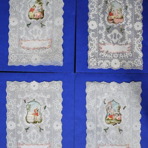 QUATRE CANIVETS : quatre images profanes. XVIIIe siècle. Chaque : Haut. 14,5 Lar…