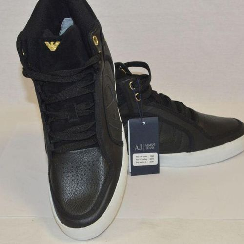 ARMANI Jeans Pair of laced up sneakers in leather and black suede, rubber soles.…