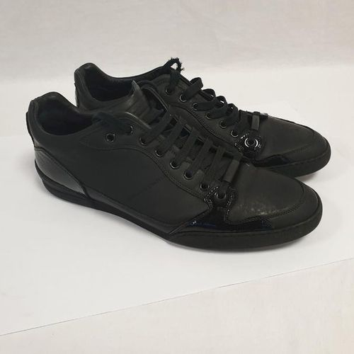 DIOR Man 	 	 		 Pair of laced runners in rubber calfskin and black patent leathe…