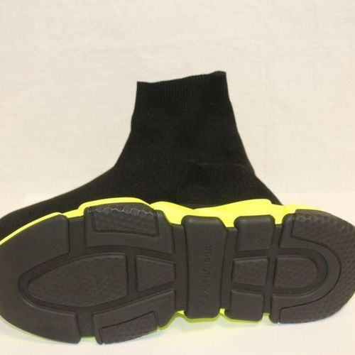 "BALENCIAGA Pair of ""Speed"" sneakers socks in black stretch nylon, fluorescent ru…"