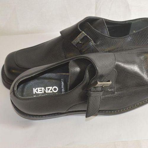 KENZO     Pair of derbies with black embossed leather buckles, lizard style…
