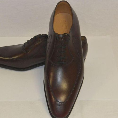 J.M.WESTON Pair of laced richelieues in smooth cocoa perforated calfskin, leathe…