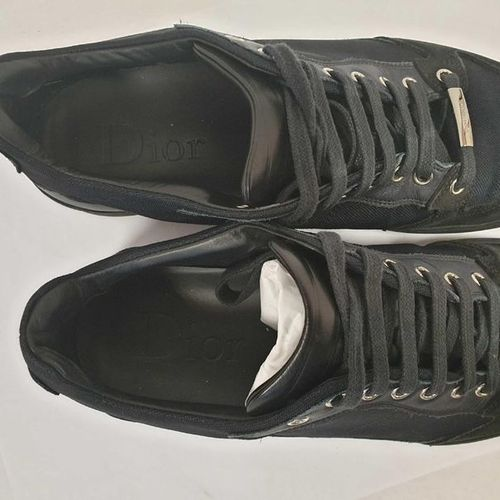 DIOR Man    Pair of laced runners in canvas, leather and black suede, rubber…