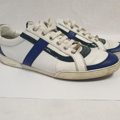 DIOR Man    Pair of laced runners in white, electric blue, black tricolour c…