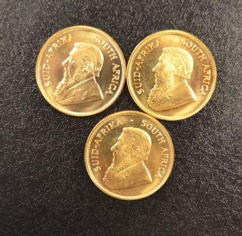 3 Krugerrands in gold of 1 ounce year 1978. Place of deposit: DOMANIAL STORE 3 A…
