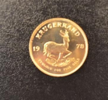 1 Krugerrand in gold of 1 ounce year 1978. Place of deposit: DOMANIAL STORE 3 AV…