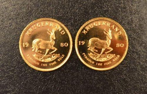2 Krugerrands in gold of 1 ounce year 1980. Place of deposit: DOMANIAL STORE 3 A…