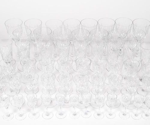 SAINT LOUIS. Crystal glass set model Chantilly, including: 15 water glasses, 12 …
