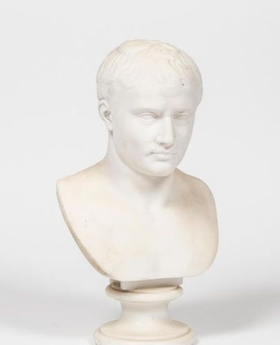 According to Antoine Denis CHAUDET. Bust of Napoleon I in white marble, on pedes…