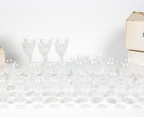SAINT LOUIS. Set of cut crystal glasses model Tommy including: 12 water glasses …