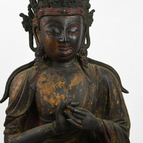 Important subject in bronze, formerly lacquered and gilded, representing the Mah…