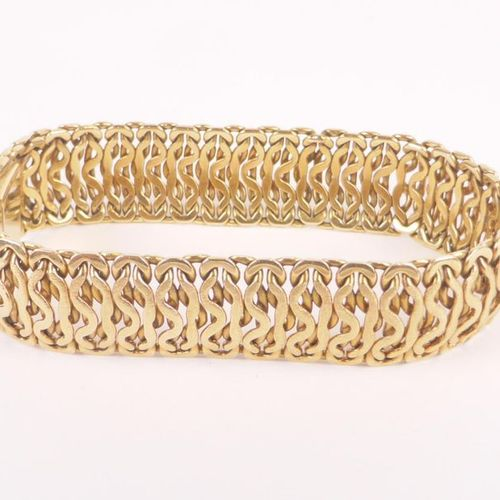 Articulated link bracelet in yellow gold 750 thousandths, ratchet clasp with saf…
