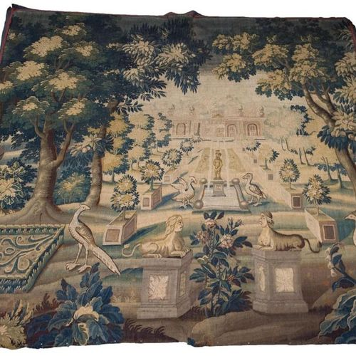 Piece of Aubusson tapestry, wool and silk, greenery in the perspective of a Fren…
