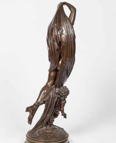 """According to Mathurin MOREAU (1822 1912). """"La Nuit"""", bronze subject with brown p…"""