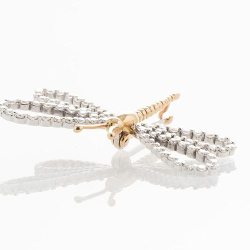 """Dragonfly"""" brooch in yellow and white gold 750 thousandths, the wings set with 7…"""