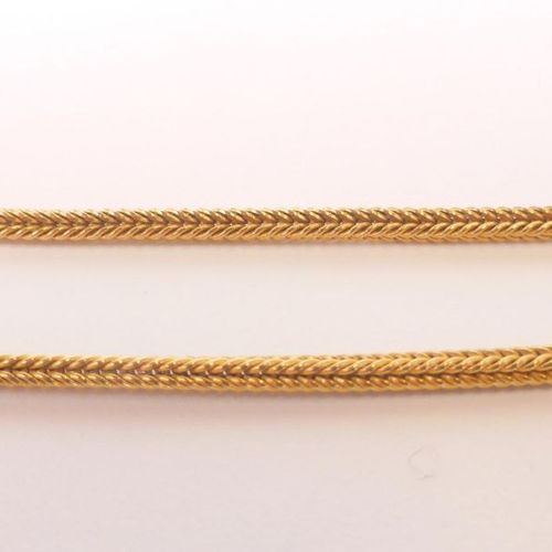 750 thousandths yellow gold watch chain and key with double chevron links (Total…