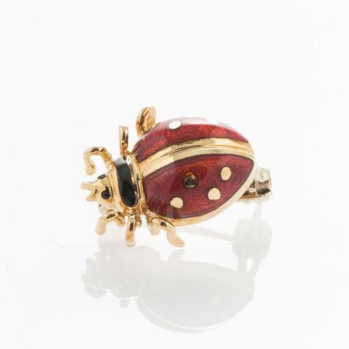 "Ladybird"" brooch in yellow gold, white gold 750 thousandths, and enamel (Gross w…"