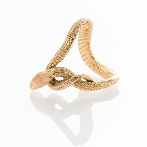 Yellow gold ring 750 thousandths snake shaped TDD 52 (Weight: 8.8 g)