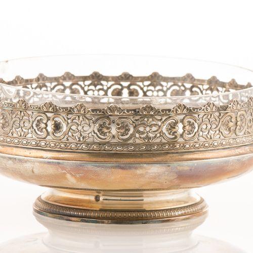 Coupe en verre et monture en argent, poinçon Minerve, à décor de rinceaux (H : 8…