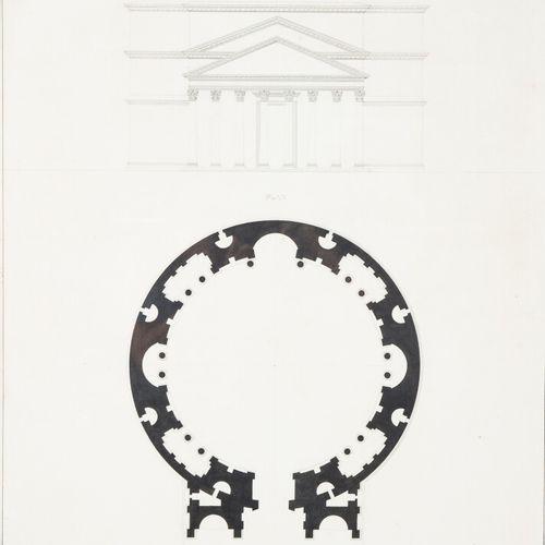 """Ecole du XIXème siècle. """"Façade et plan du Panthéon à Rome"""", dessin à l'encre de…"""