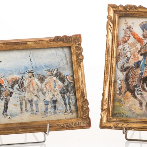 """Alphonse LALAUZE (1872 1936). """"Charge de hussards"""" et """"Halte de cavalerie"""",suite…"""