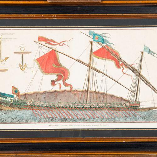 """Ecole du XVIIIe siècle. """"Marine, dessein d'une galère à la rame nommée la Réale""""…"""