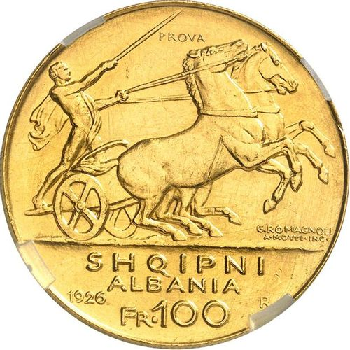 ALBANIE Zog Ier (1925 1939). 100 franga or 1926, Rome, deux étoiles. Prova. Av. …