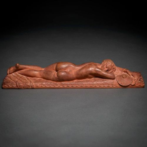 """MARCEL ANDRÉ BOURAINE (Francia, 1886 1948) """"Lying Woman"""" Sculpture of a round bu…"""