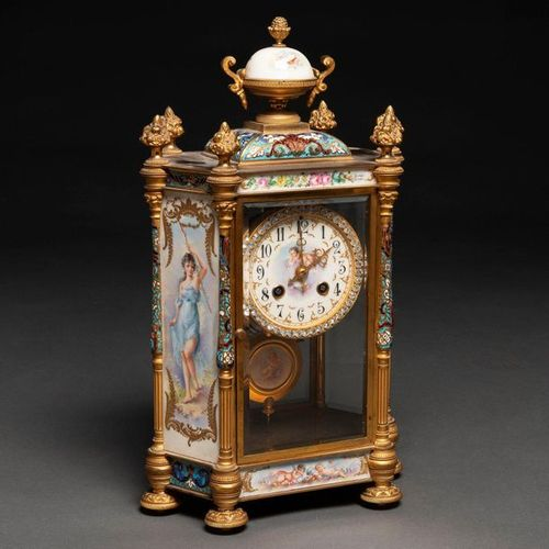 French table clock from the Napoleon III period made of gilded bronze, cloisonne…