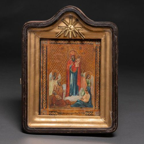 """""""Virgin with Child and Angels"""" Russian icon of 19th century tempera painting Ico…"""