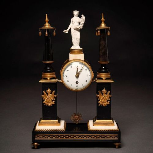Jean Baptista Amiens Louis XVI style French table clock in gilded bronze, black …