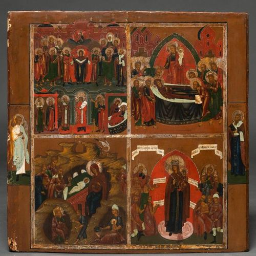 """""""Scenes from the Life of the Virgin"""" Russian icon painted with tempera on wood f…"""