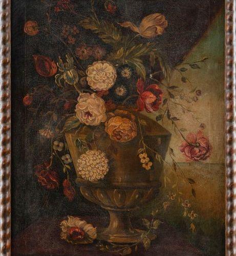 """ESCUELA ESPAÑOLA, Siglo XX """"Still life with roses"""" 82 x 60 cms. Oil/canvas"""