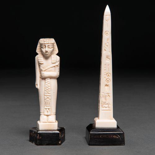 Ensemble d'obélisque et de pharaon en ivoire sculpté. Travail chinois, XXème siè…