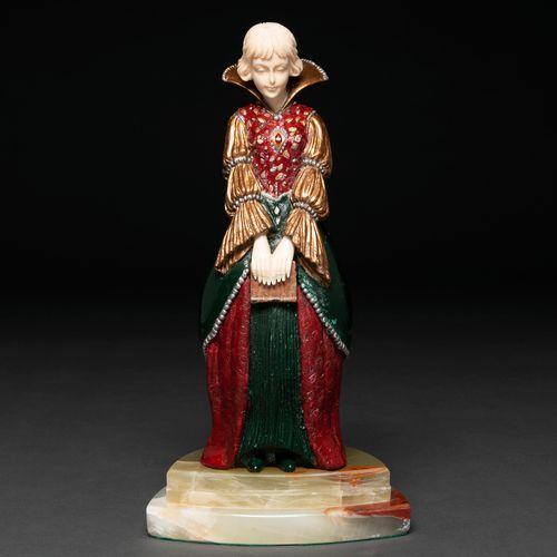 """""""Femme lectrice"""" Figure crsiolefantina en bronze et ivoire. Siglo XX Présente un…"""