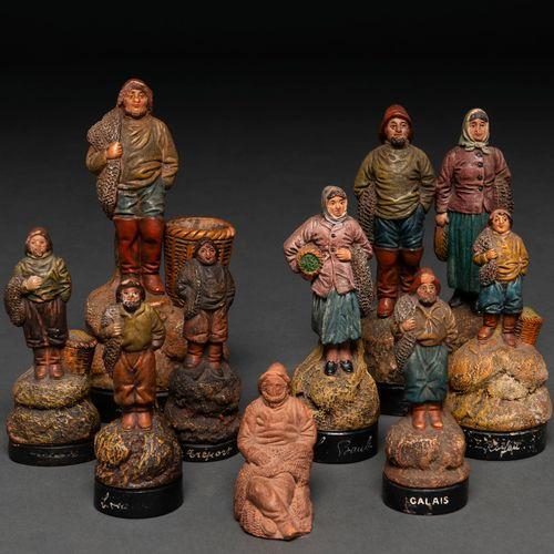 """""""Pêcheurs"""" Ensemble de 9 figurines en terre cuite polychrome. Travail français, …"""