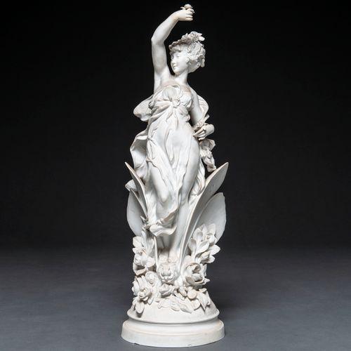 """PAUL DUBOY (1830 1887) """"Nymphe aux masques"""" Figure sculpturale en biscuit du XIX…"""